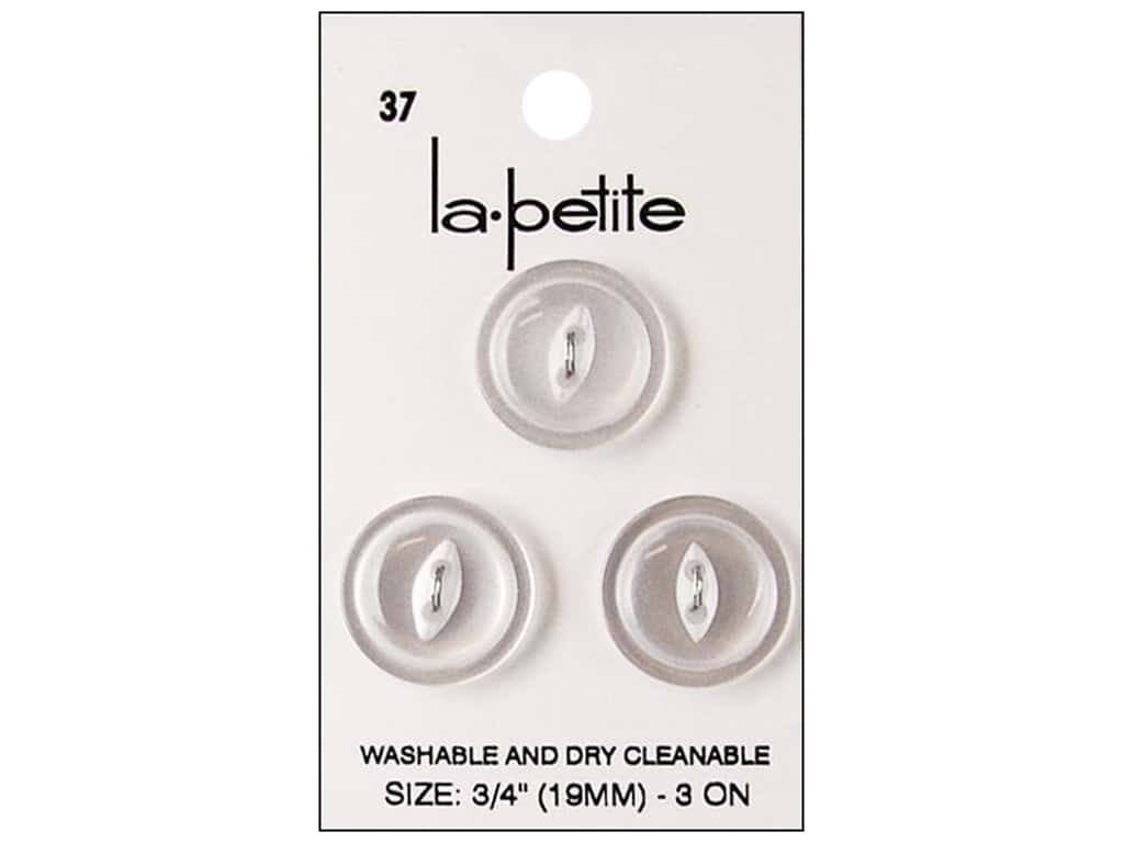 LaPetite 2 Hole Buttons 3/4 in. White #37 3pc.