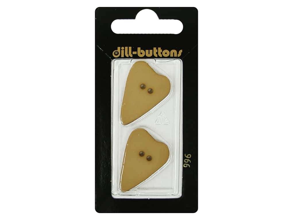 Dill 2 Hole Buttons 1 1/8 in. Beige Heart #996 2pc.