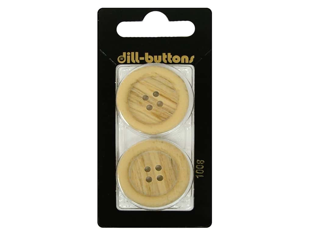 Dill 4 Hole Buttons 1 1/8 in. Wood Beige #1008 2 pc