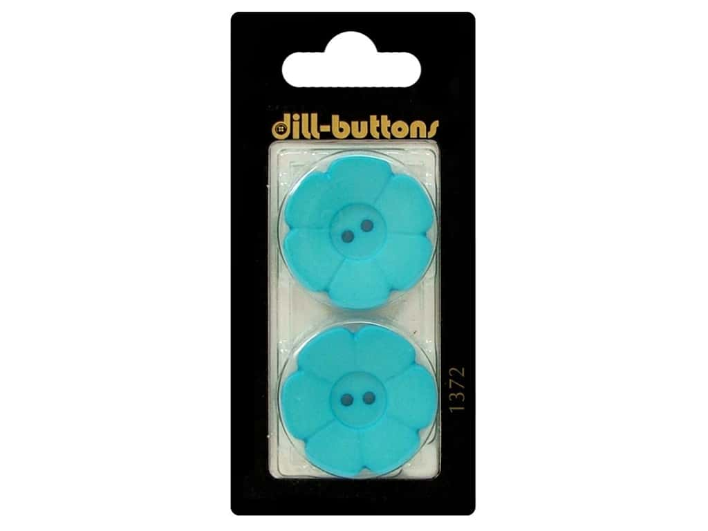 Dill 2 Hole Buttons 1 1/8 in. Blue Flower #1371 2pc.