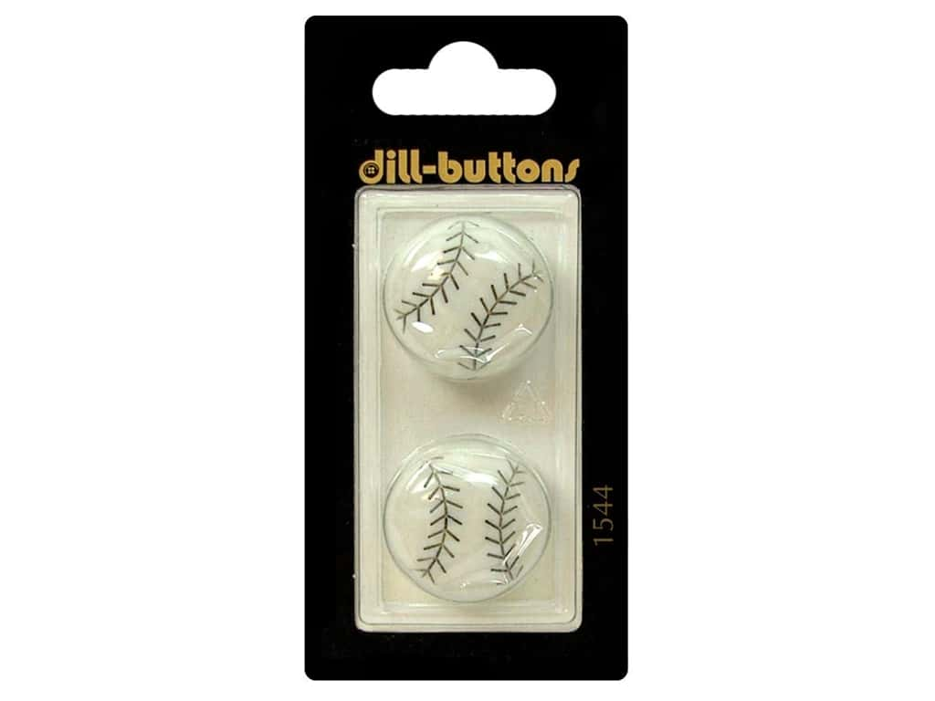 Dill Shank Buttons 7/8 in. White Baseball #1544 2pc.