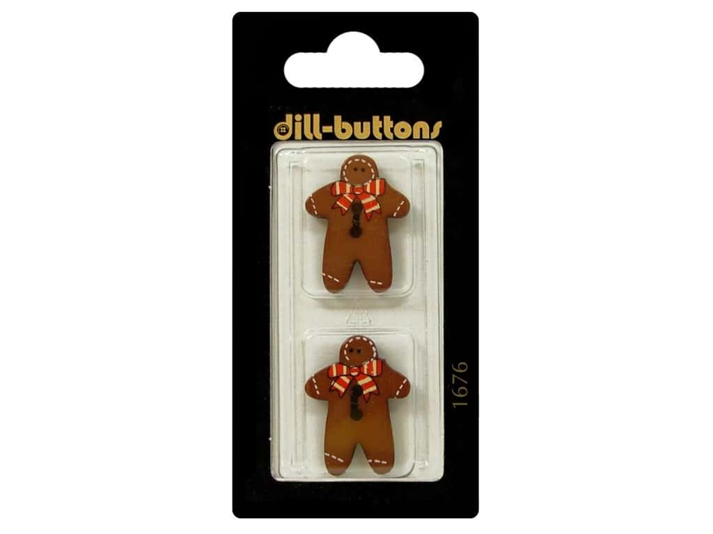 Dill 2 Hole Buttons 1 in. Brown Gingerbread Man #1676 2 pc.