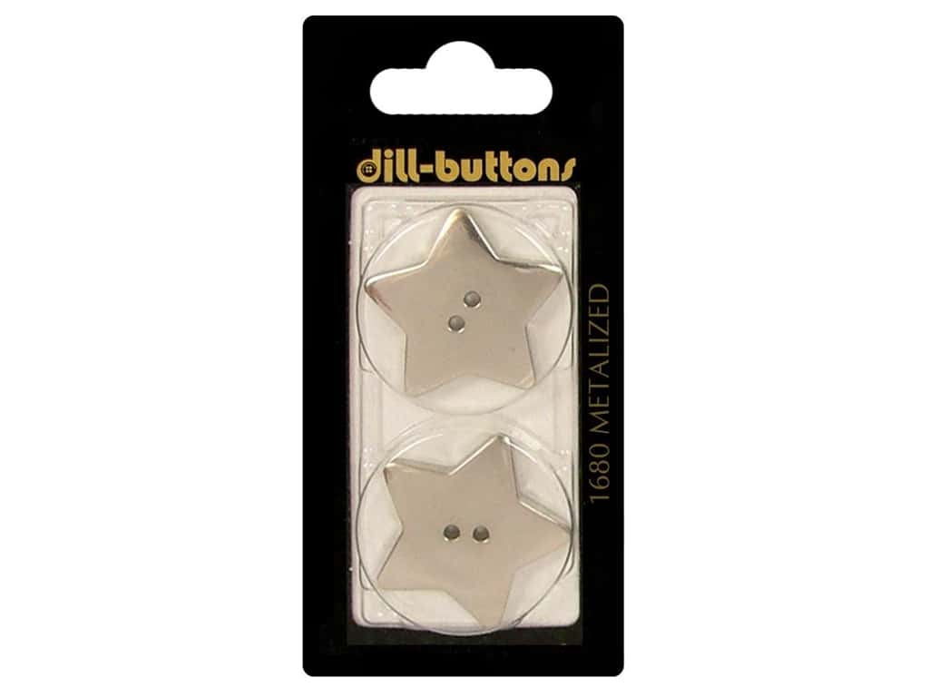 Dill 2 Hole Buttons 1 1/8 in. Silver Star #1680 2pc.