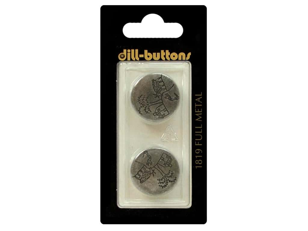 Dill Shank Buttons 13/16 in. Antique Tin Metal #1819 2 pc.
