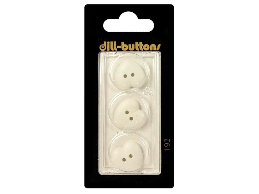 Dill 2 Hole Buttons 5/8 in. White Heart #192 3 pc.