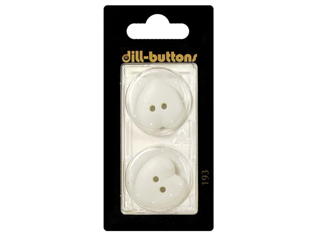 Dill 2 Hole Buttons 7/8 in. White Heart #193 2pc.