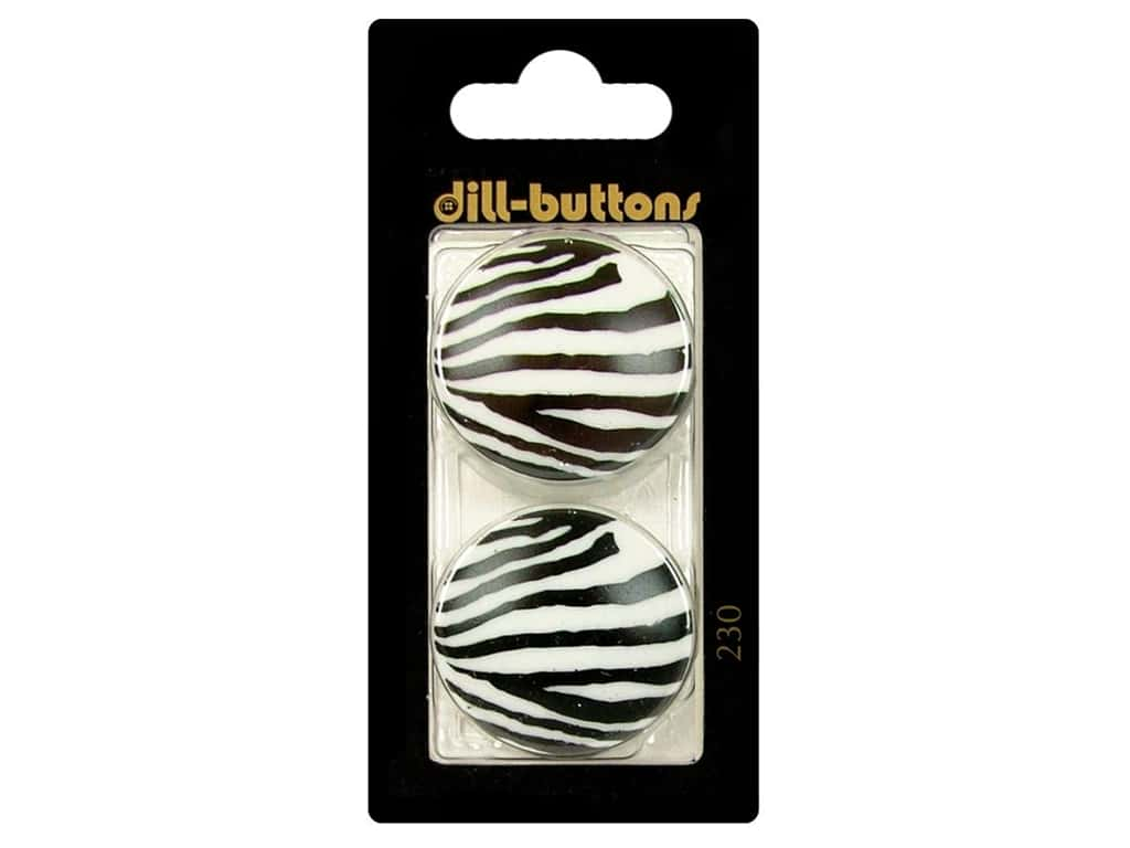 Dill Shank Buttons 1 1/8 in. White/Black #230 2pc.
