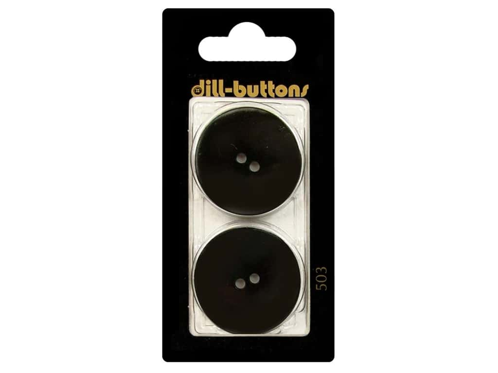 Dill 2 Hole Buttons 1 1/8 in. Round Black #503 2pc.