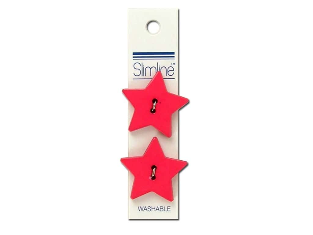 Slimline 2 Hole Buttons 1 1/8 in. Star Pink 2 pc.