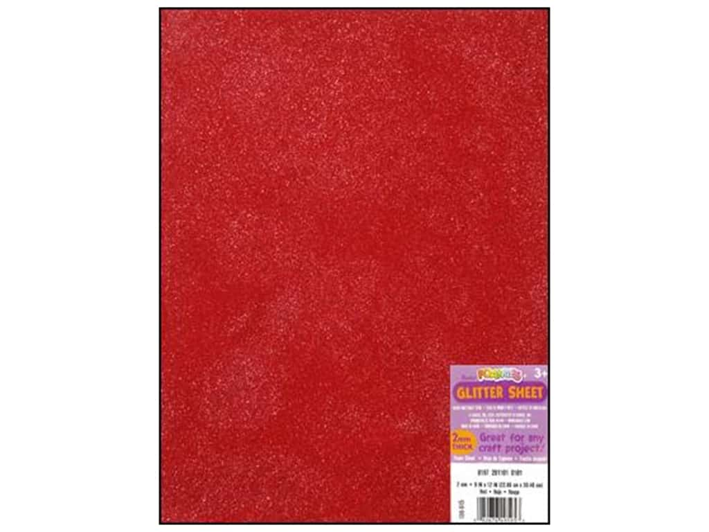 Darice Foamies Foam Sheet 9 x 12 in. 2 mm. Glitter Red