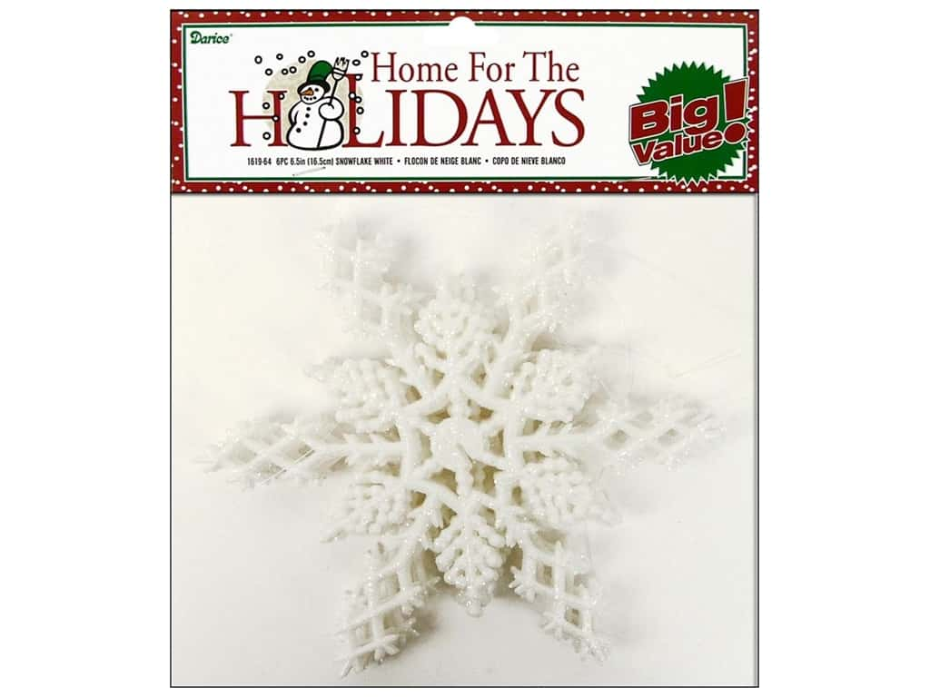 Darice 6 1/2 in. Snowflake 6 pc. Glitter White