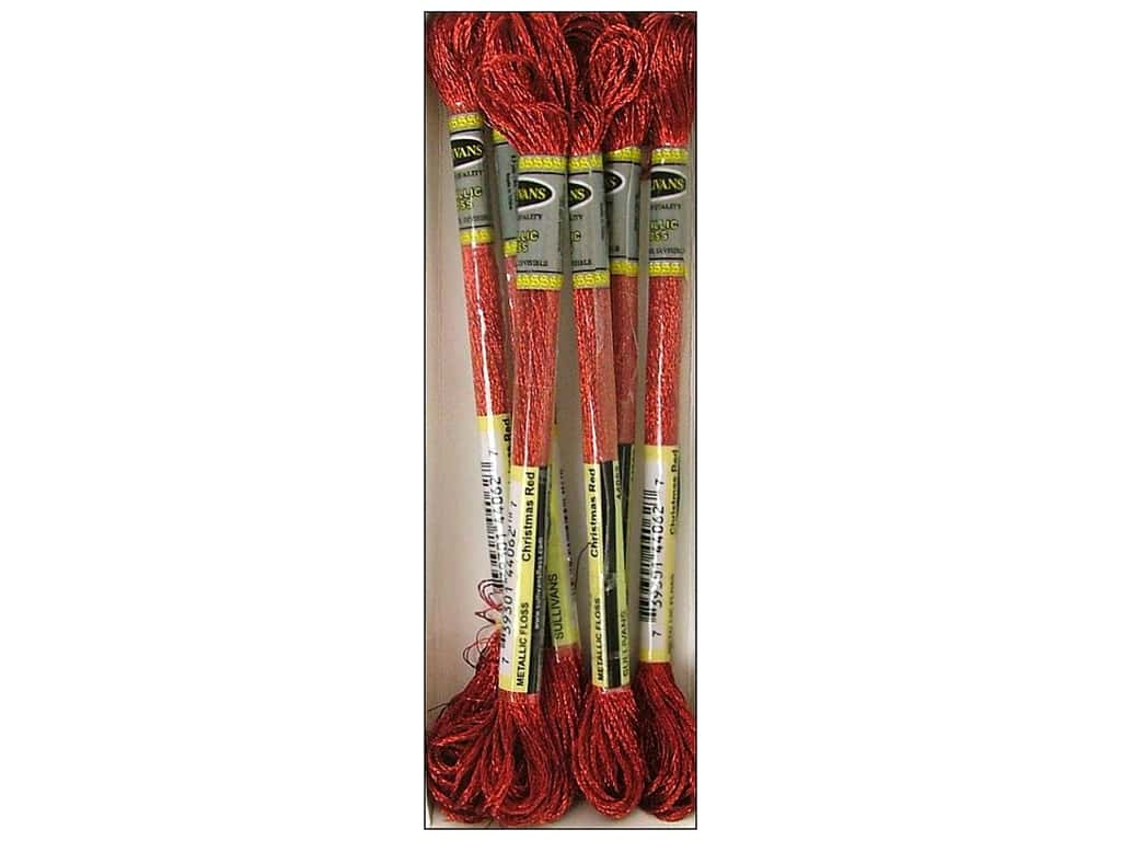 Sullivans Six-Strand Embroidery Floss 8.7 yd. Metallic Christmas Red (6 skeins)