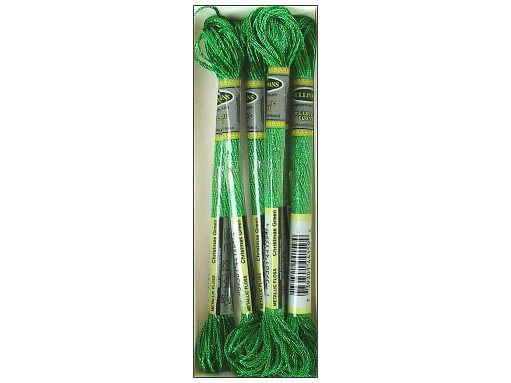 Sullivans Six-Strand Embroidery Floss 8.7 yd. Metallic Christmas Green (6 skeins)
