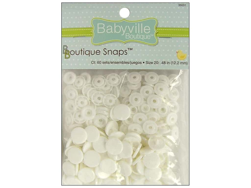 Dritz Babyville Boutique Snaps - 1/2 in. White 60 pc.