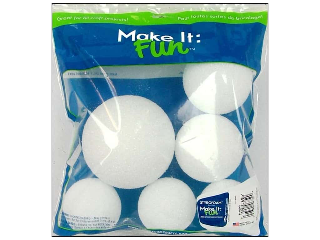 FloraCraft Styrofoam Ball Assorted Size White 6 pc.