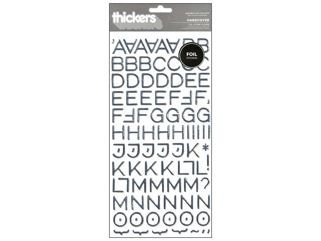 American Crafts Thickers Alphabet Stickers Hardcover Silver