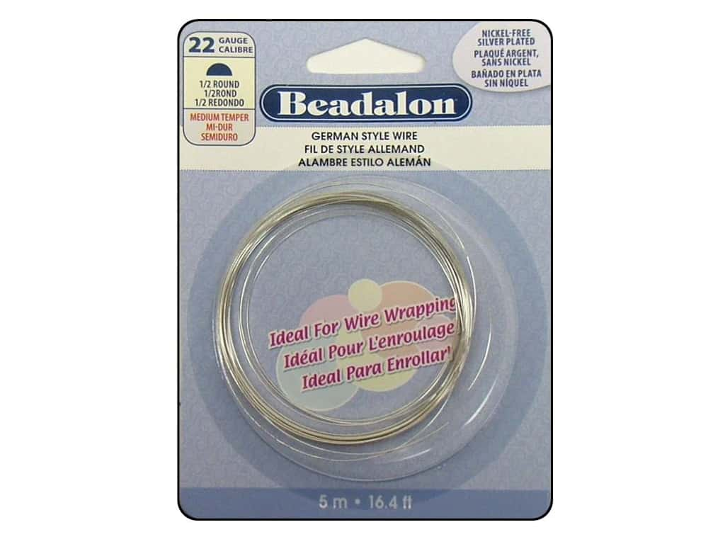 Beadalon German Style Wire 22ga Half Round Silver Plated 16.4 ft.