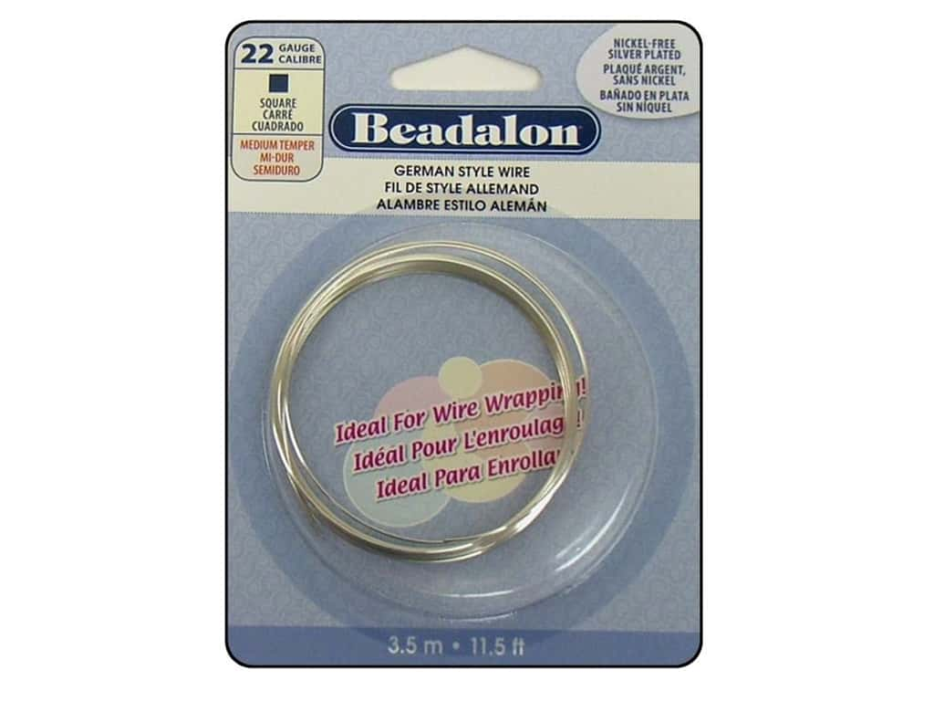 Beadalon German Style Wire 22ga Square Silver Plated 11.5 ft.