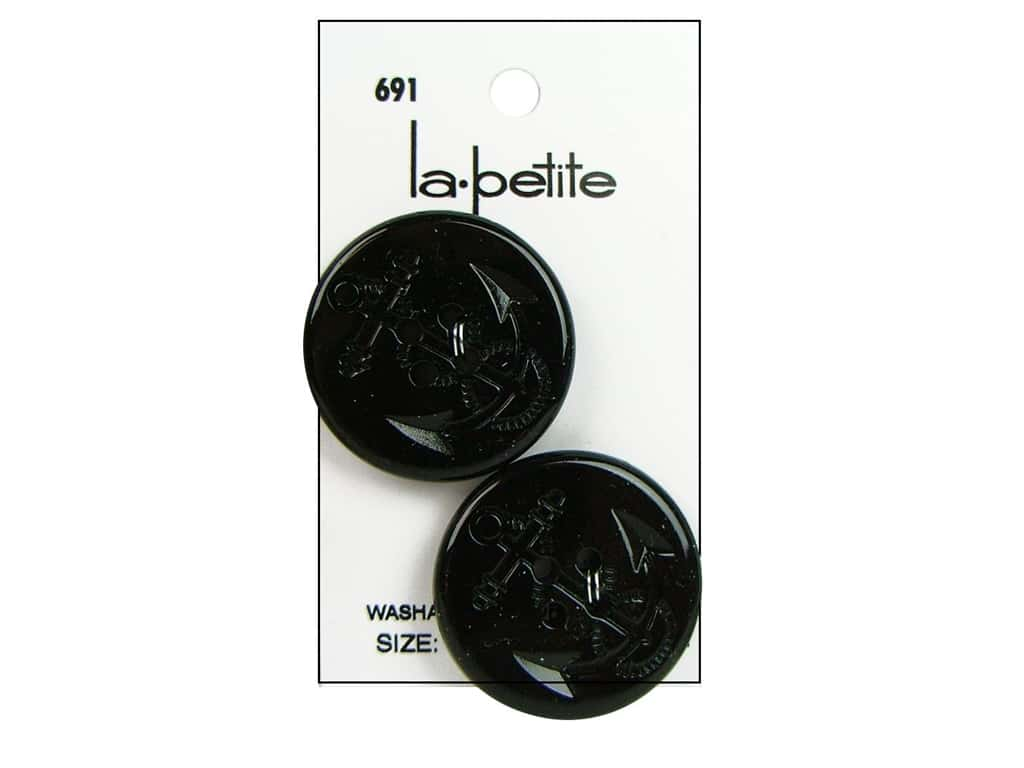 LaPetite 4 Hole Buttons 1 1/4 in. Black #691 2 pc.