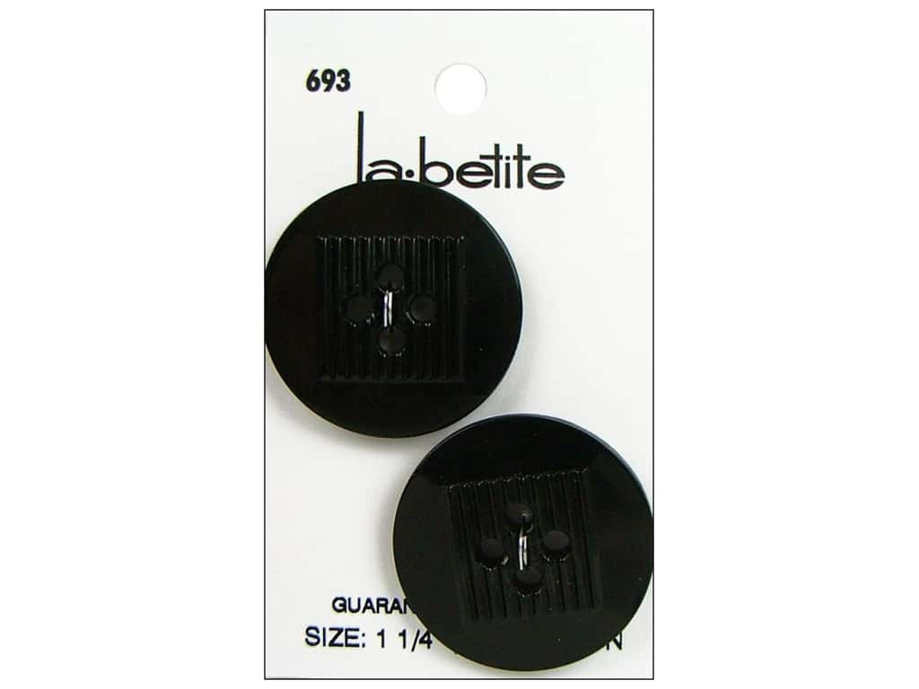 LaPetite 4 Hole Buttons 1 1/4 in. Black #693 2 pc.
