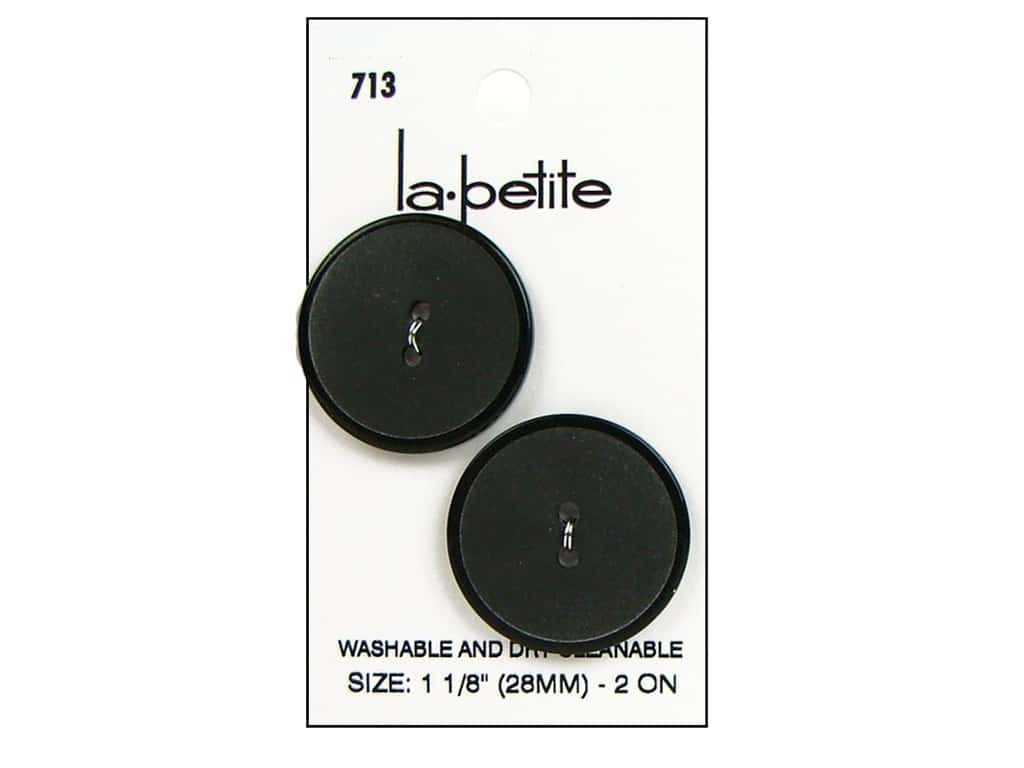 LaPetite 2 Hole Buttons 1 1/8 in. Black #713 2 pc.