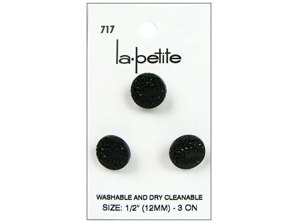 LaPetite Shank Buttons 1/2 in. Black #717 3 pc.
