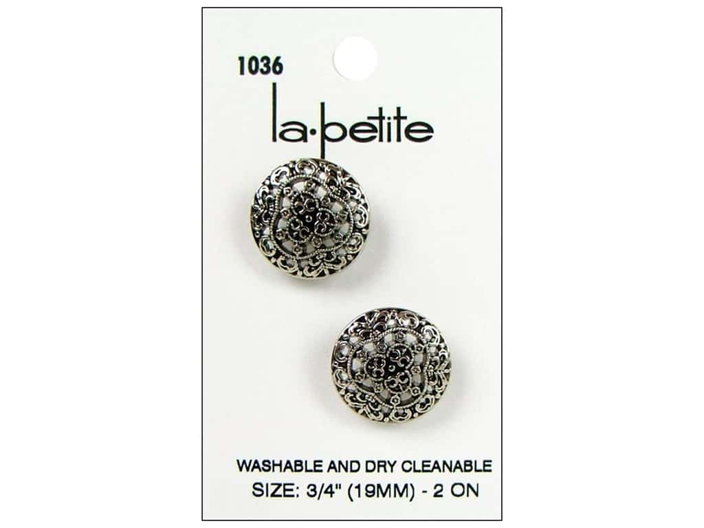 LaPetite Shank Buttons 3/4 in. Antique Silver #1036 2 pc.