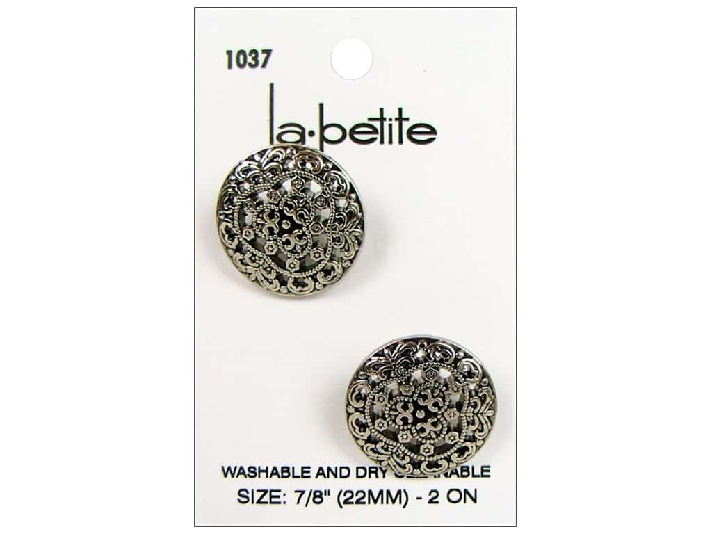 LaPetite Shank Buttons 7/8 in. Antique Silver #1037 2 pc.