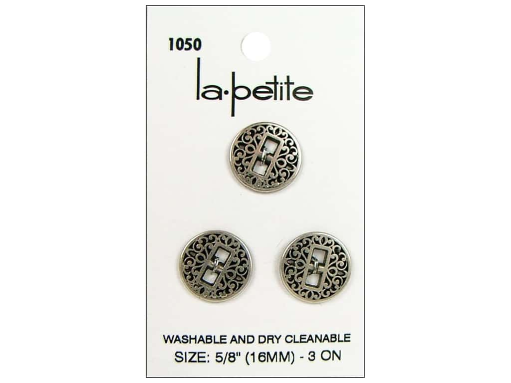 LaPetite 2 Hole Buttons 5/8 in. Antique Silver #1050 3pc.