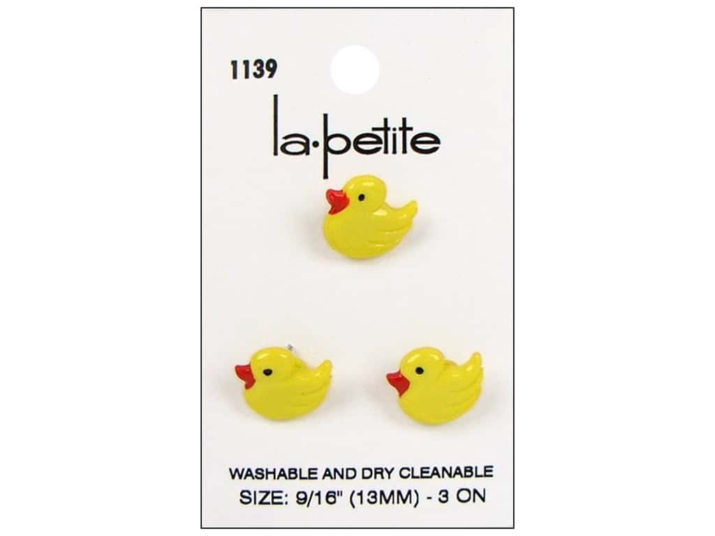 LaPetite Shank Buttons 9/16 in. Yellow Duck #1139 3 pc.