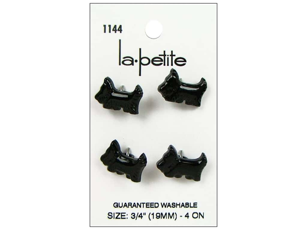 LaPetite Shank Buttons 3/4 in. Black Scotty Dog  #1144 4 pc.