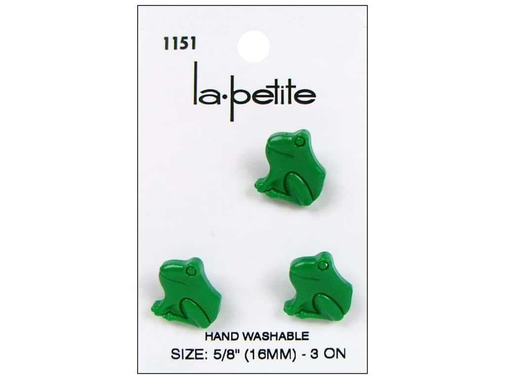 LaPetite Shank Buttons 5/8 in. Green Frog #1151 3 pc.