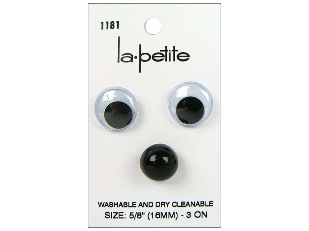 LaPetite Shank Buttons 5/8 in. Wiggle Eyes/Black Nose #1181 3 pc.