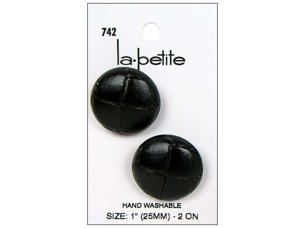 LaPetite Shank Buttons 1 in. Black Imitation Leather #742 2 pc.