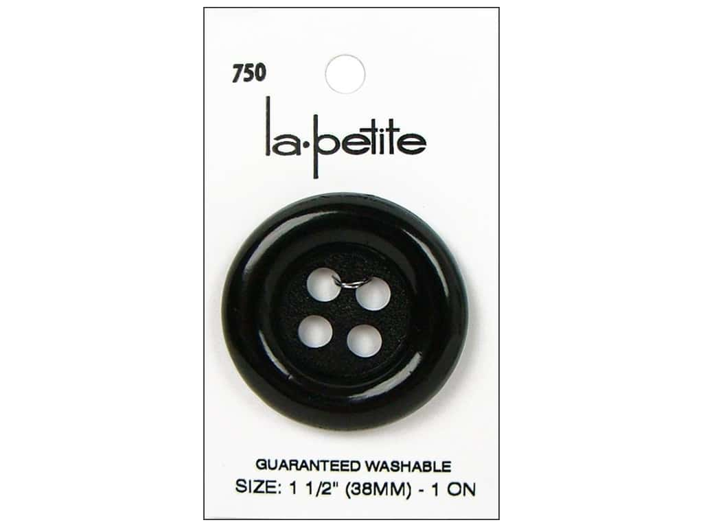 LaPetite 4 Hole Buttons 1 1/2 in. Black #750 1 pc.