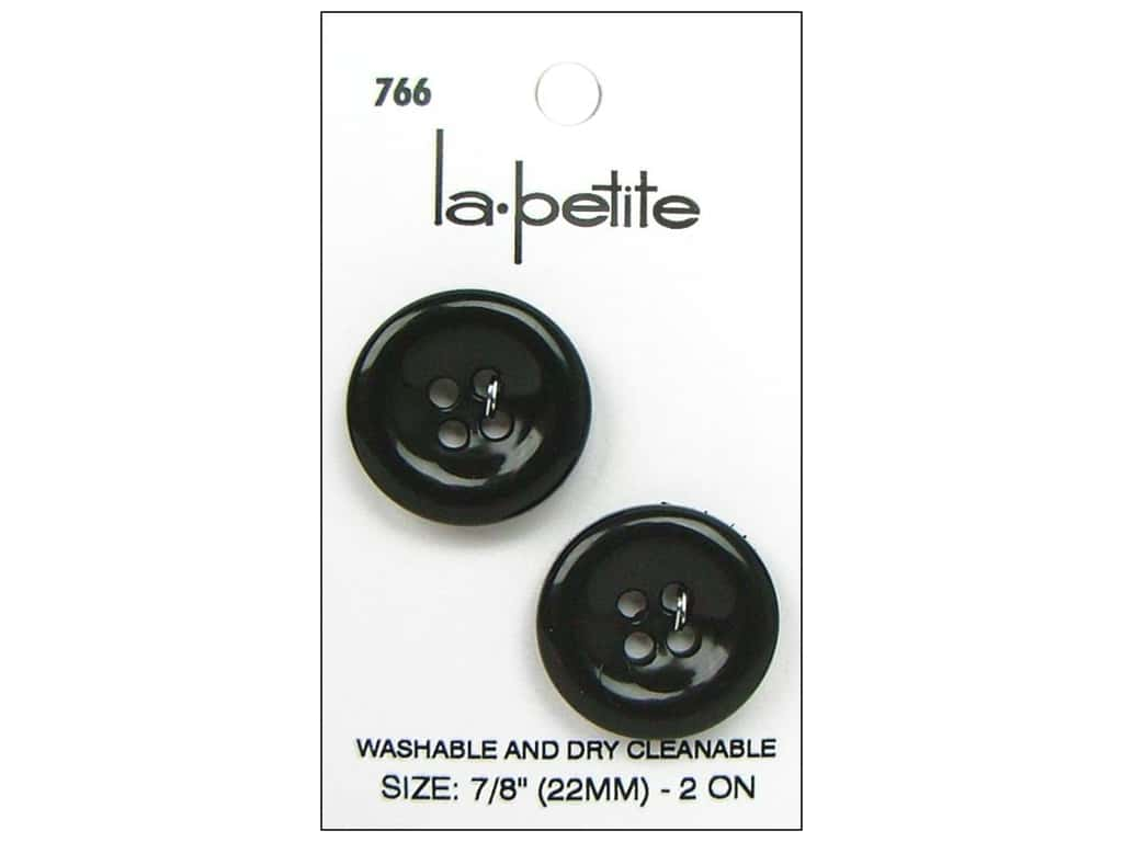 LaPetite 4 Hole Buttons 7/8 in. Black #766 2pc.