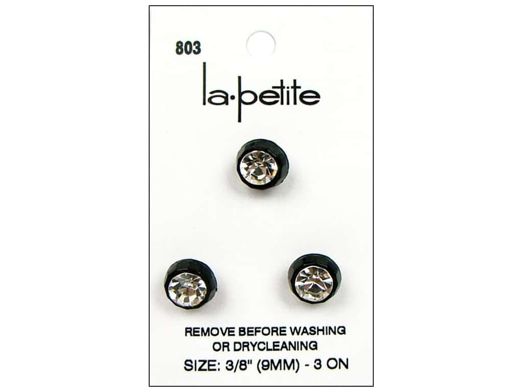 LaPetite Shank Buttons 3/8 in. Black/Rhinestone #803 3pc.