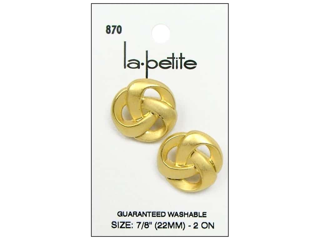 LaPetite Buttons - Shank - 7/8 in. Matte Gold 2 pc.