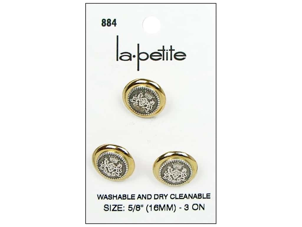 LaPetite Shank Buttons 5/8 in. Gold/Silver #884 3 pc.