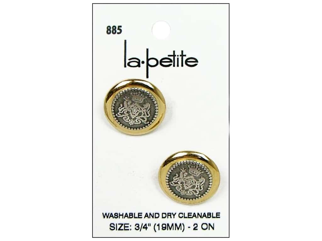 LaPetite Shank Buttons 3/4 in. Gold/Silver #885 2pc.