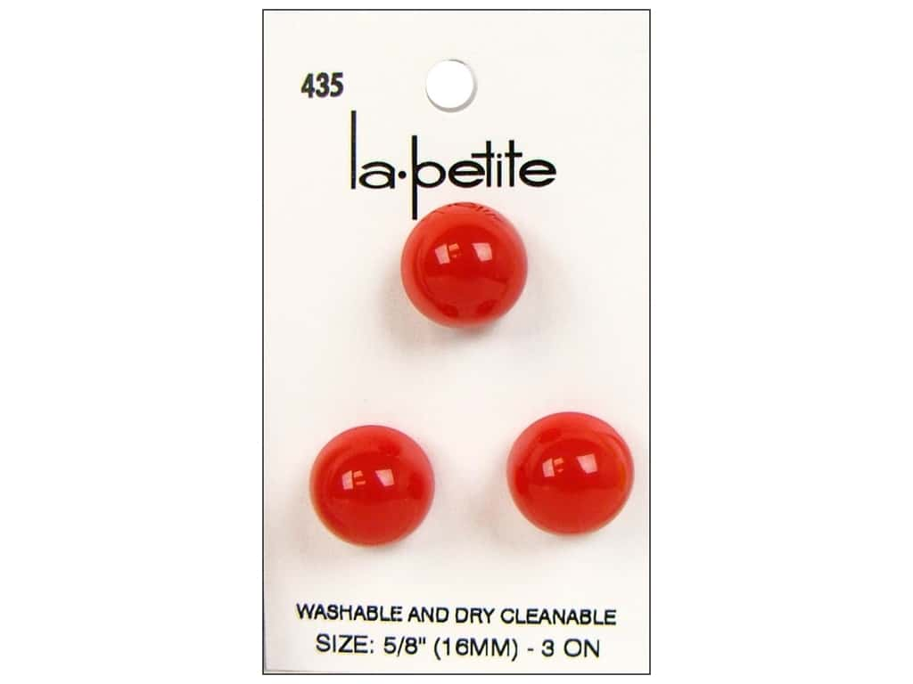 LaPetite Shank Buttons 5/8 in. Red #435 3 pc.