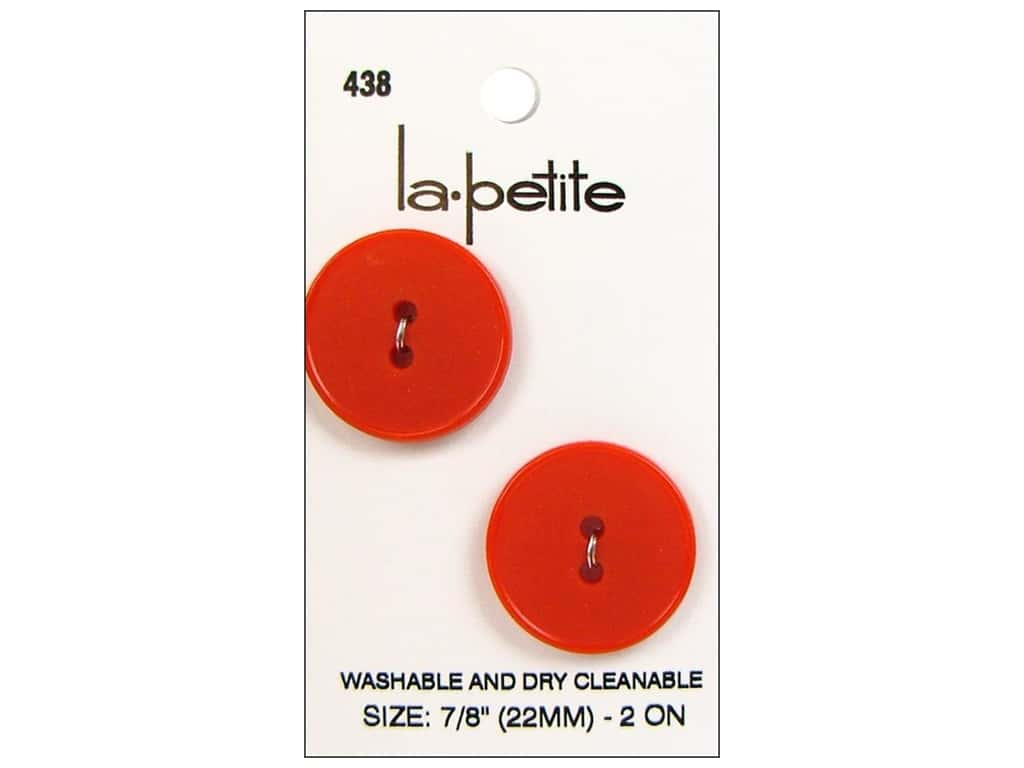 LaPetite 2 Hole Buttons 7/8 in. Red #438 2pc.