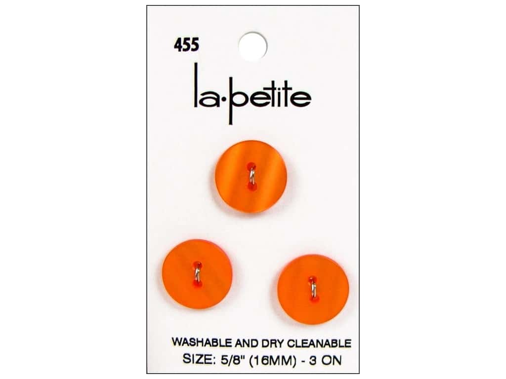 LaPetite 2 Hole Buttons 5/8 in. Orange #455 3 pc.