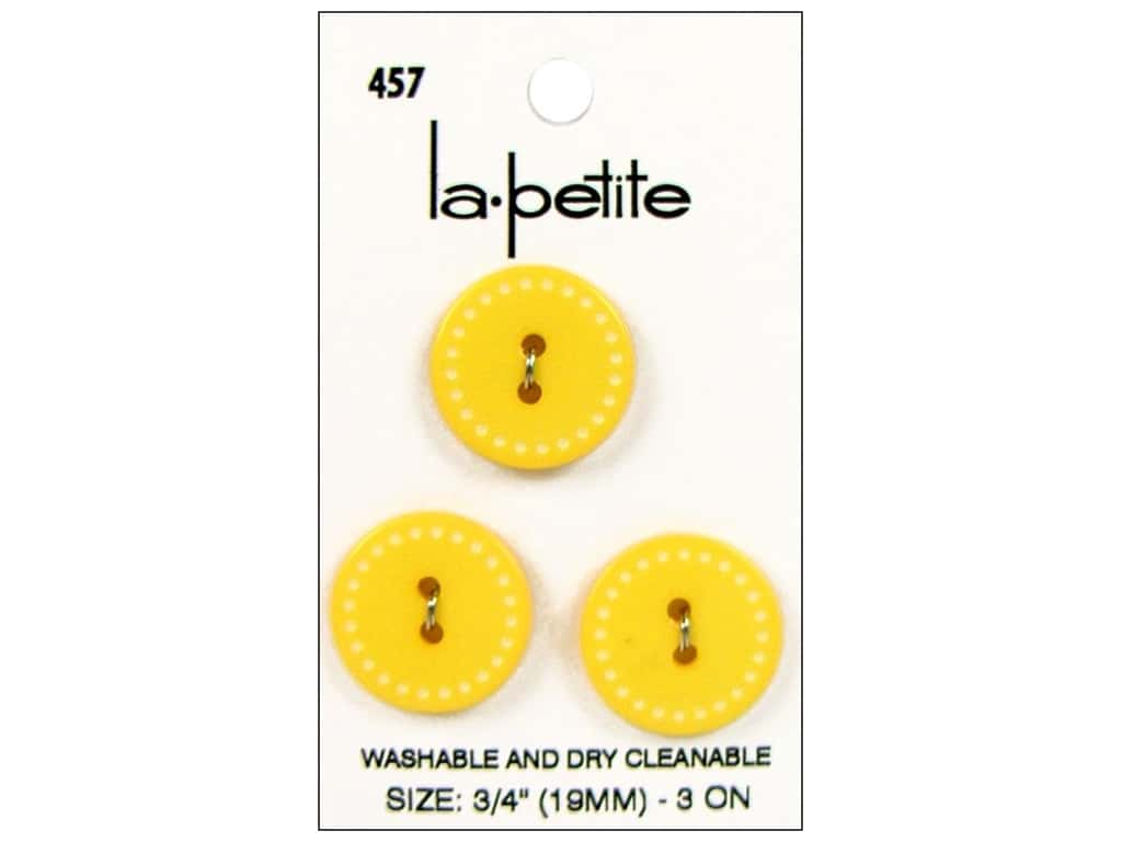 LaPetite Buttons - 2 Hole - 3/4 in. Yellow 3 pc.
