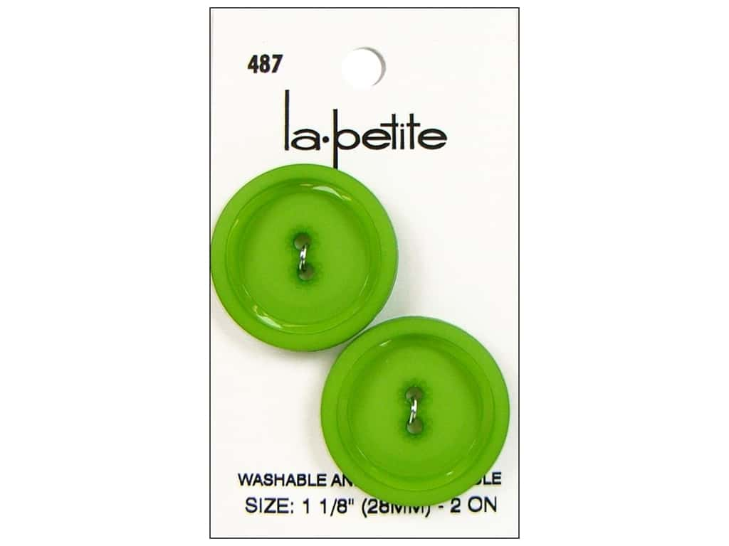 LaPetite Buttons - 2 Hole - 1 1/8 in. Green 2 pc.
