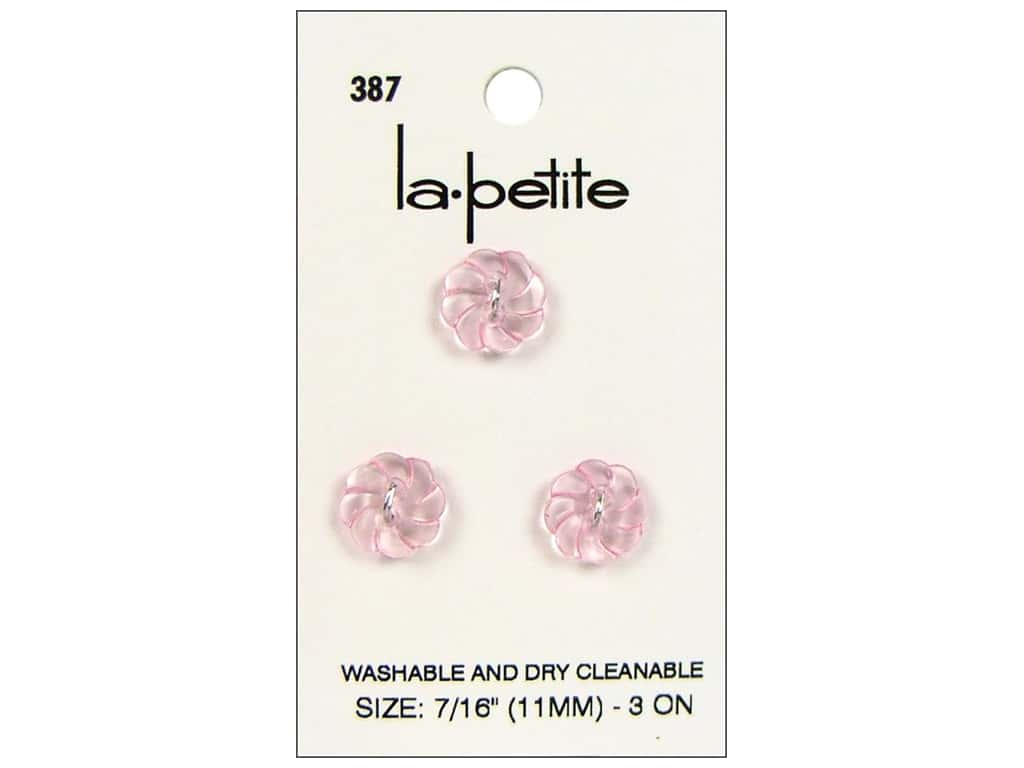 LaPetite 2 Hole Buttons 7/16 in. Pink #387 3pc.