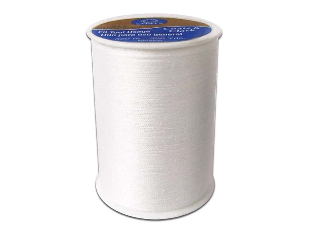 Coats & Clark All Purpose Polyester Thread 350 yd. White (12 spools)
