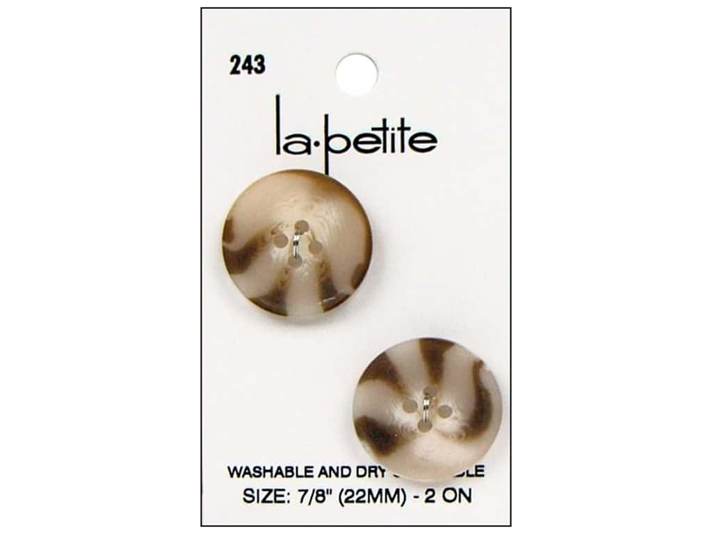 LaPetite Buttons - 4 Hole - 7/8 in. Tan 2 pc.