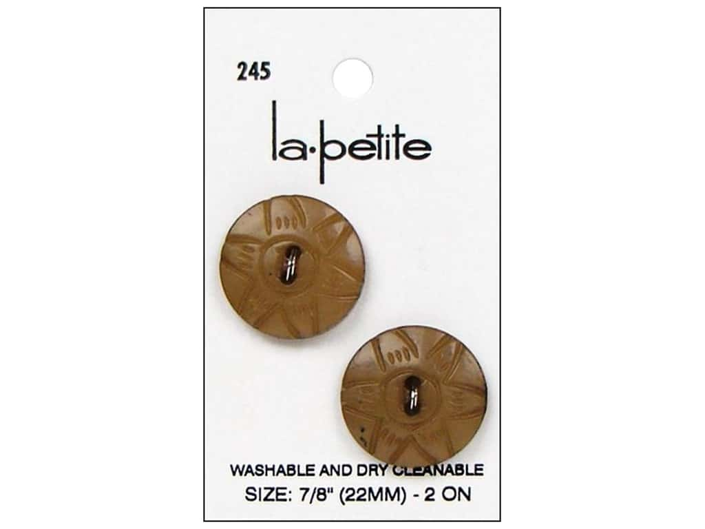 LaPetite 2 Hole Buttons 7/8 in. Tan #245 2pc.