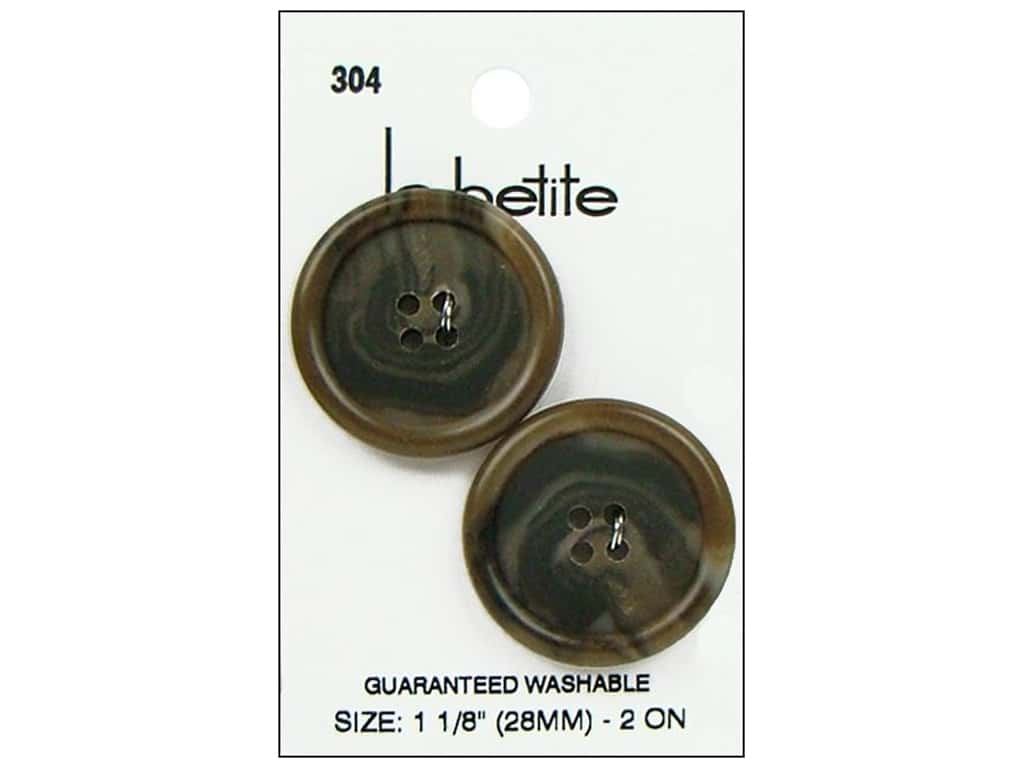 LaPetite Buttons - 4 Hole - 1 1/8 in. Brown 2 pc.
